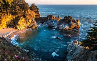 Картинка Mcway Falls, море, берег, Big Sur, Pfeiffer State Park