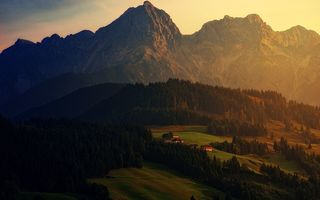 Обои Alps, mountain landscape, forest, sunset, evening, houses, mountain village