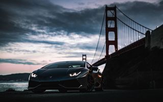 Картинка Lamborghini, Golden Gate Bridge, Huracan