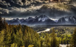 Обои Горы, HDR, облако, Wyoming, Леса, Tetons, Grand Teton, National Park Облака, Пейзаж, облачно, Природа, HDRI