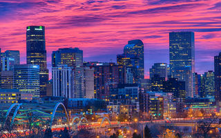Картинка Denver, Colorado, sunset, 4k, modern buildings