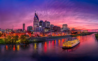 Картинка Nashville, sunset, modern buildings, cityscapes