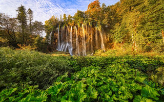 Картинка waterfall, autumn, sunset, Croatia, evening, beautiful waterfall, Plitvice Lakes National Park