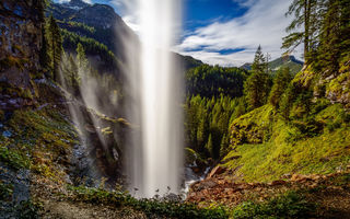 Картинка Johannes Waterfall, Obertauern, mountain waterfall, beautiful waterfall, forest, mountain river, Austria, Alps, mountain landscape