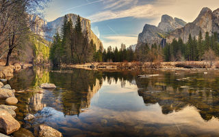 Картинка Yosemite national, river, mountains, sunset, Park