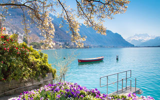 Картинка Lake Geneva, Switzerland, Alps, beautiful lake, morning, flowers, Montreux cityscape, mountain landscape, Montreux