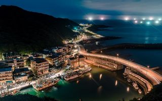 Картинка Port of Keelung, nightscapes, Taiwan, Keelung, asian cities, Asia, ocean, Keelung Harbor