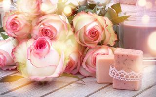 Обои цветы, romantic, heart, love, roses, бутоны, pink, розы, flowers