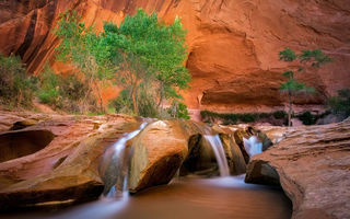 Картинка река, каньон, водопад, эскаланте, пейзаж, coyote gulch, david swindler, скалы