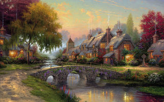Картинка thomas kinkade, summer, bridge, art, painting, picture, cottage, Cobblestone bridge
