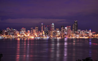 Обои clouds, lights, night, вашингтон, washington, bay, usa, sky, purple, seattle, city, сша