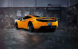 Обои supercar, garage, mp4-12c, rear, Mclaren, orange