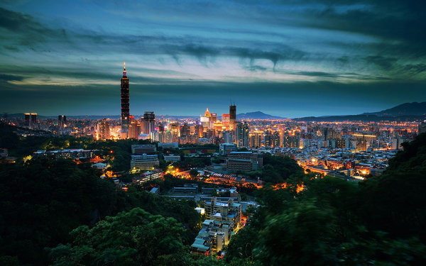 Обои night, Taiwan, Taipei, sunset