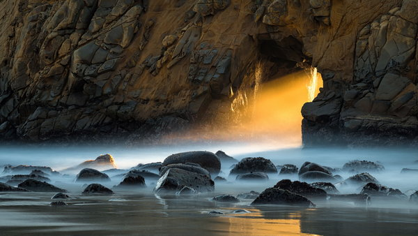Обои Pfeiffer Beach, pacific, sunset, Big Sur, California