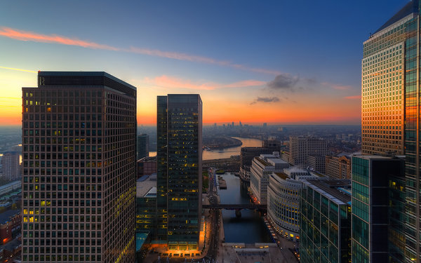 Обои sunset, city, london, river