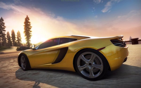 Обои need for speed, закат, hot pursuit, McLaren MP4-12C, дорога, суперкар