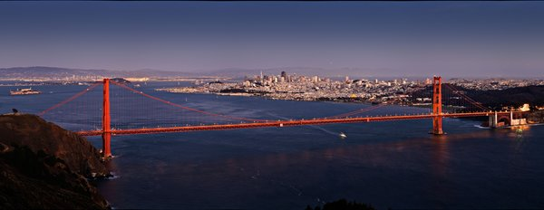 Обои dusk, San Francisco, bay, aerial, vintage, Golden Gate Bridge, USA