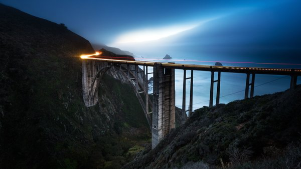 Обои линия, Соединенные Штаты, свет, Калифорния, море, ночь, Bixby Bridge