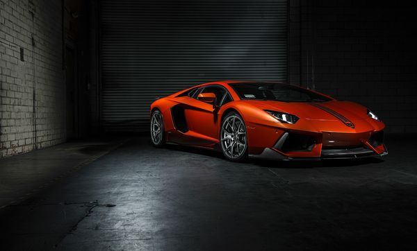 Обои Lamborghini, ламборджини, front, Vorsteiner, orange, LP700-4, Aventador, авентадор, right