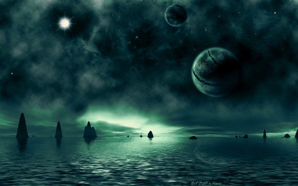 Обои sci fi landscapes, water, rocks, sea, green