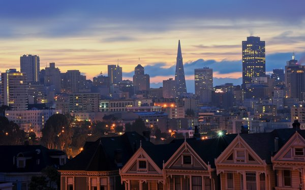 Обои alamo square, san francisco, usa, morning, восход, california, sunrise, калифорния