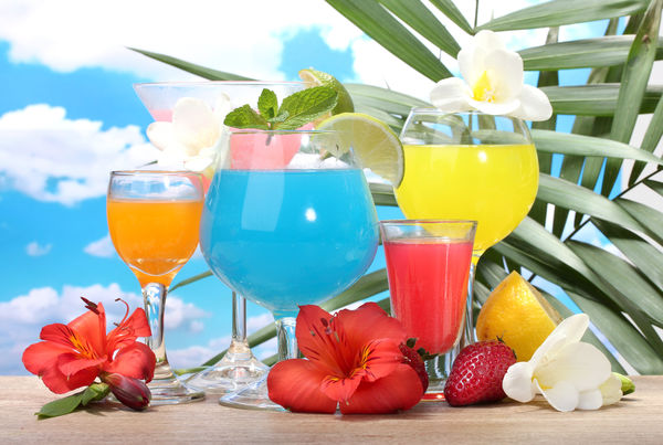 Обои tropical, море, фрукты, fruits, коктейль, fresh, cocktail, drink
