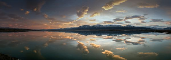 Обои lake, sunset, snow, mountain