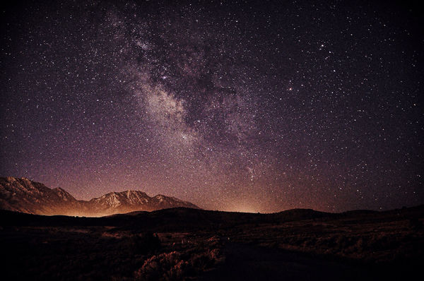 Обои Milky, Way, Galaxy, Silhouette, Landscape, Stars, Nightscape, Space, Mountains