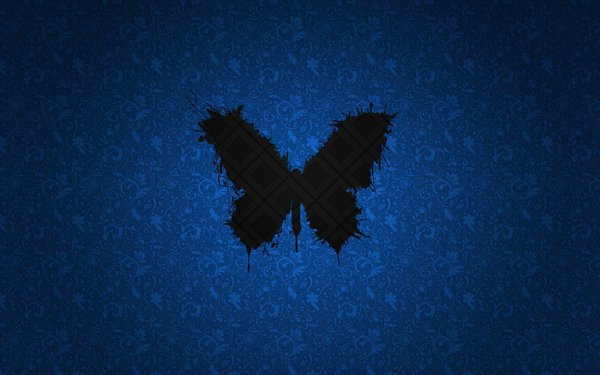 Обои blue, butterfly, black