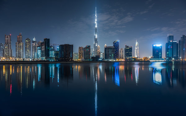 Обои dubai, city, night, lights, reflection
