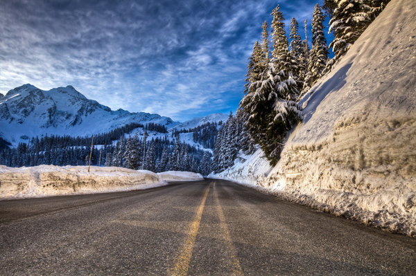 Обои winter, snow, mountain, road, forest