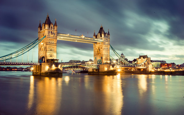 Обои Tower bridge, night, london, англия, лондон, ночь, england, Thames River