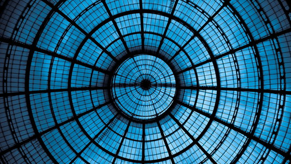 Обои ceiling, glass, glass, blue, metal, effect