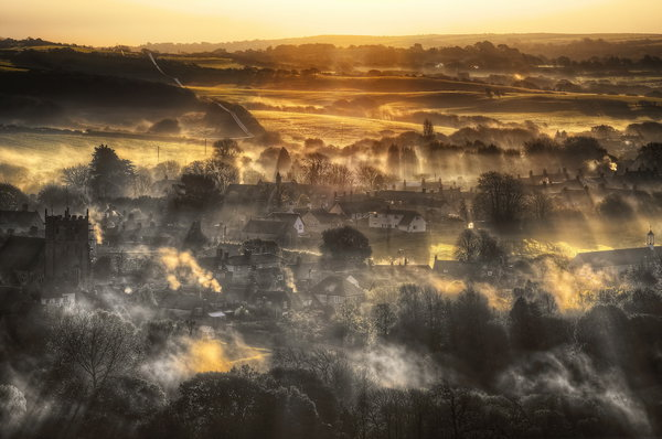 Обои Corfe, Morning Falls, Dorset