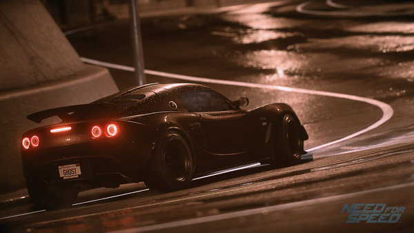Обои Need For Speed 2015, Lotus, фары, спорткар, Exige S, мокрый асфальт