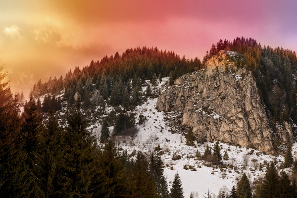 Обои Romania, Light, Winter, Carpatians, Print, Snow, Trees, Mountains, Travel, Sunset, Elydan, Clouds, Sky, Sun