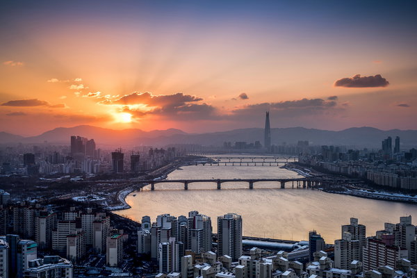 Обои Lotte Tower, Han River, Seoul, Winter Sunrise