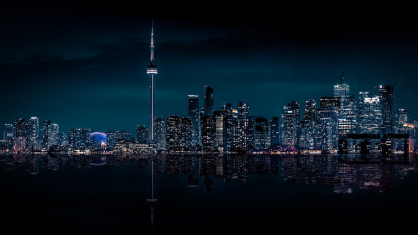 Обои Canada, Cityscape, Ontario, Toronto, City, Night, Skyline
