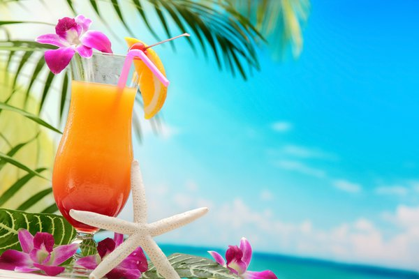 Обои tropical, cocktail, пальмы, море, palms, vacation, коктейль, пляж, paradise, summer, drink, beach, sea