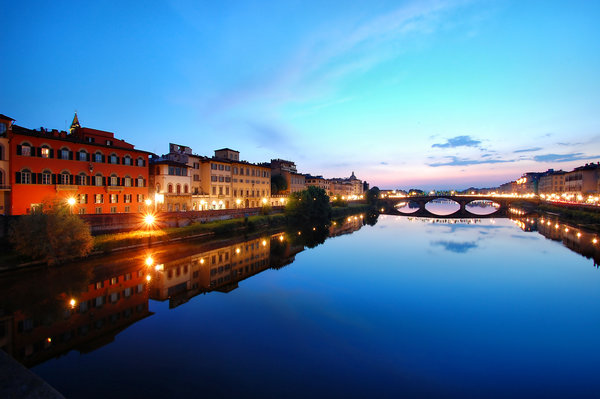 Обои Florence, Italy, Twilight, lights, Италия, Флоренция