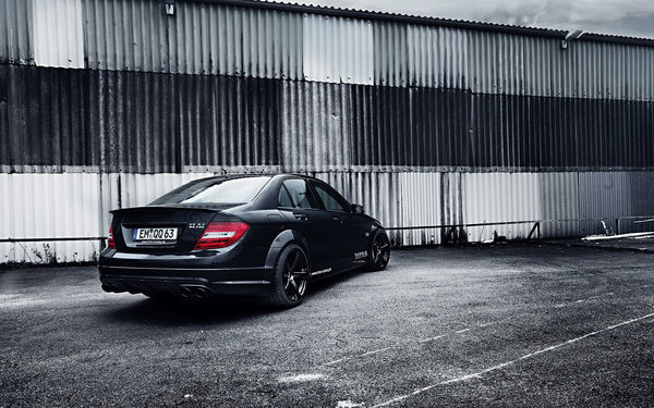 Обои Tuning, Black, AMG, C63, work, Mercedes-Benz