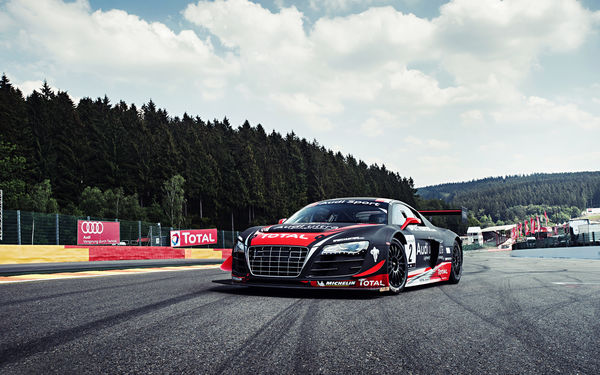Обои Audi, Sky, WRT, LMS, Track, R8, Competition, Widebody, Team, Ultra, Forrest, Performance, Sportcar, Clouds, Spoilers, Grid, GT3
