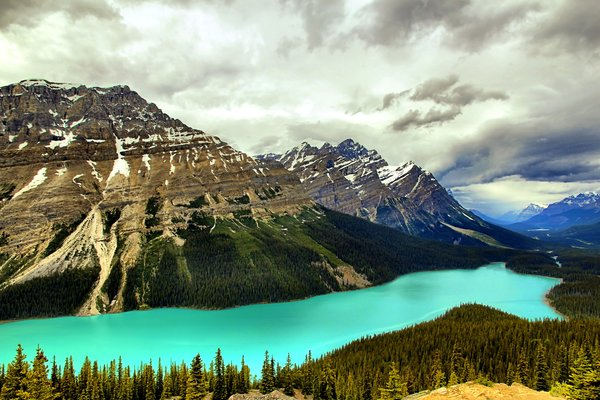 Обои пейзаж, горы, peyto lake, banff national park, озеро