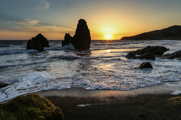 Обои закат, пейзаж, rodeo beach, san francisco