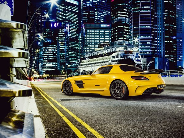 Обои black, series, мерседес, mercedes-benz, yellow, sls, amg
