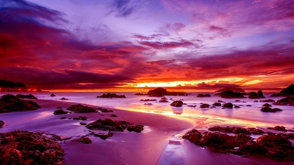 Обои sky, ocean, sunset, purple, water