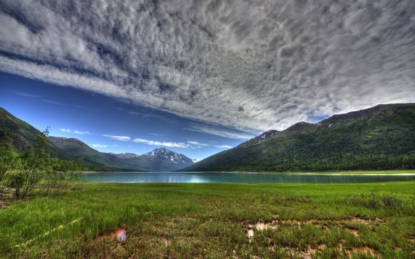 Обои sky, mountain, purple, lake, water, clouds