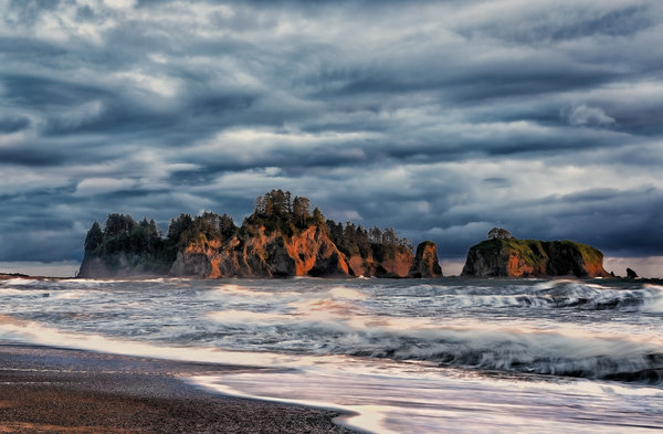 Обои usa, sunset on rialto rocks, washington, la push