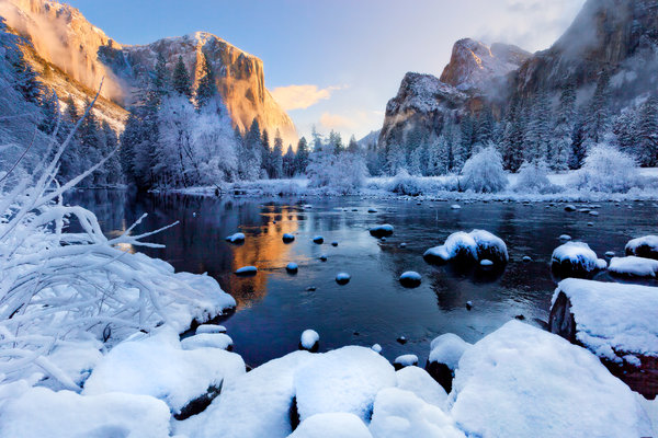Обои usa, winter season, yosemite national park, california