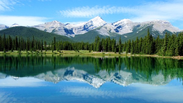 Обои canada, alberta, pond, elbow valley, kananaskis country